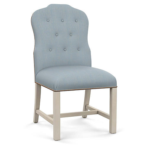 Jack Side Chair, Blue Diamond Linen