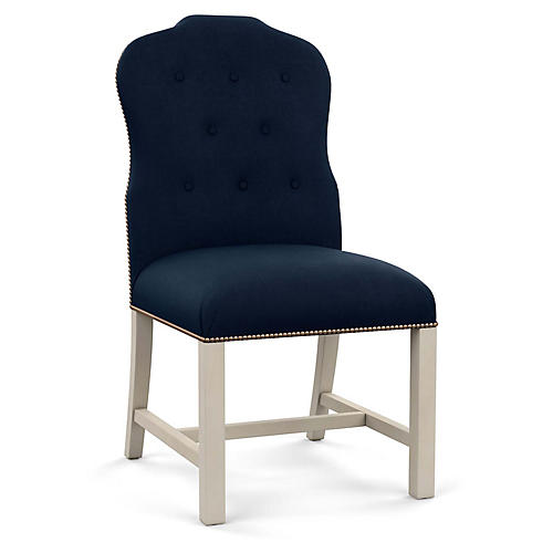Jack Side Chair, Navy Linen