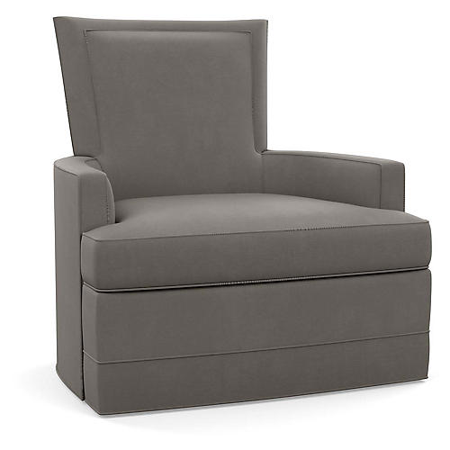 Cameron Swivel Club Chair, Gray Linen