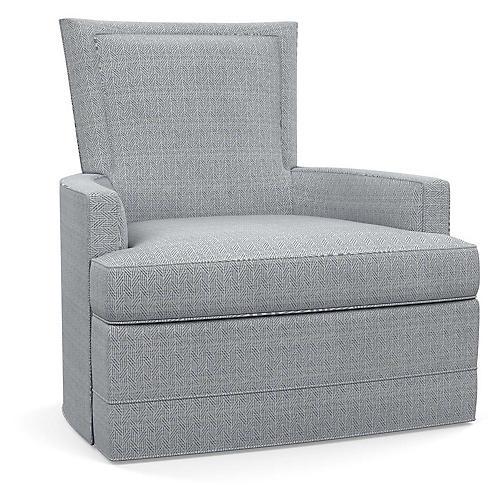 Cameron Swivel Club Chair, Blue Geo