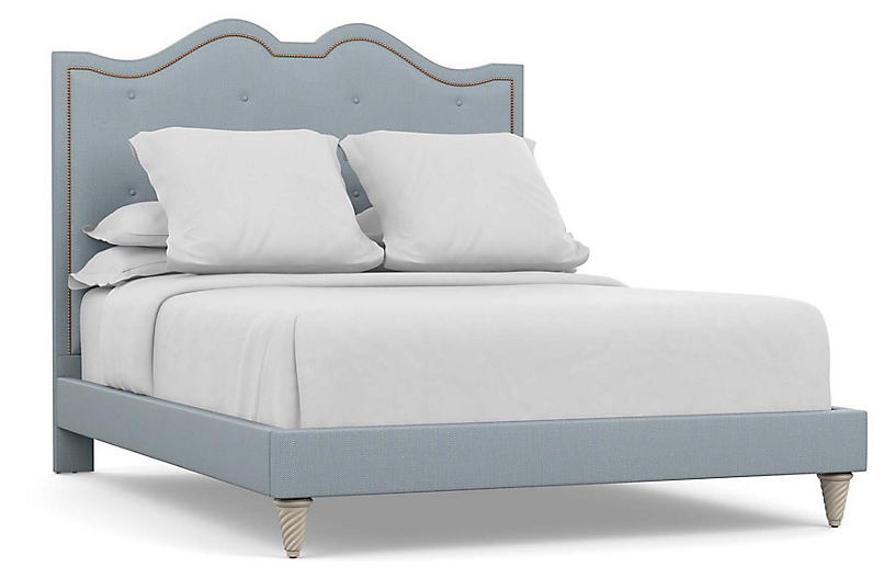 Williams Bed, Blue Diamond Linen