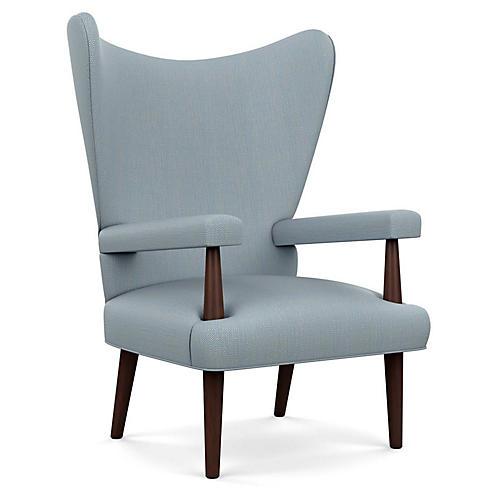 Liam Wingback Chair, Blue Diamond Linen