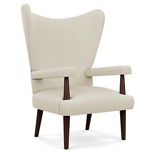 Liam Wingback Chair, Natural Diamond Linen