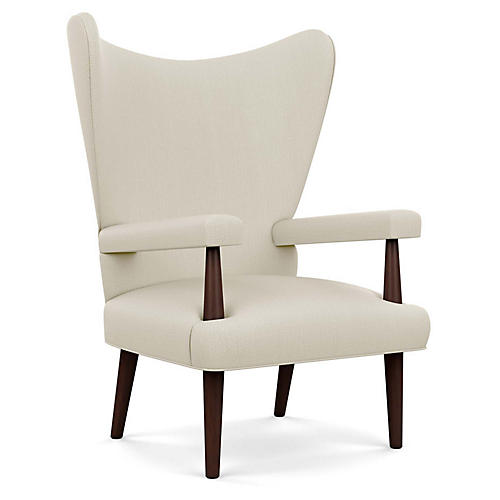 Liam Wingback Chair, Natural Diamond Linen
