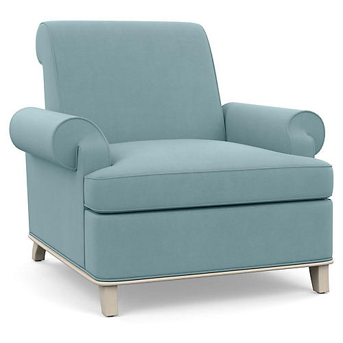 Bunny Club Chair, Blue Linen