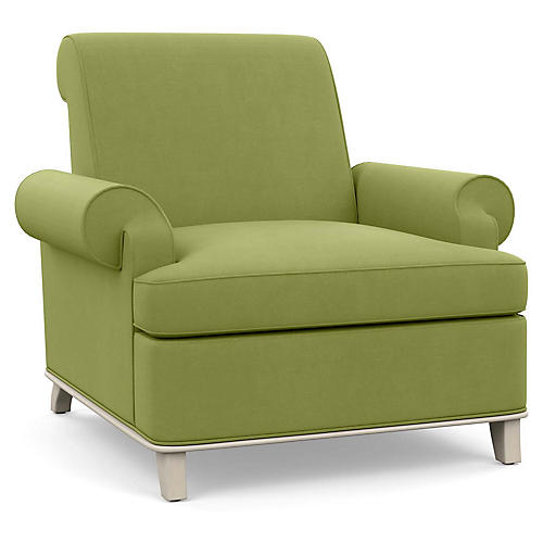 Bunny Club Chair, Green Linen