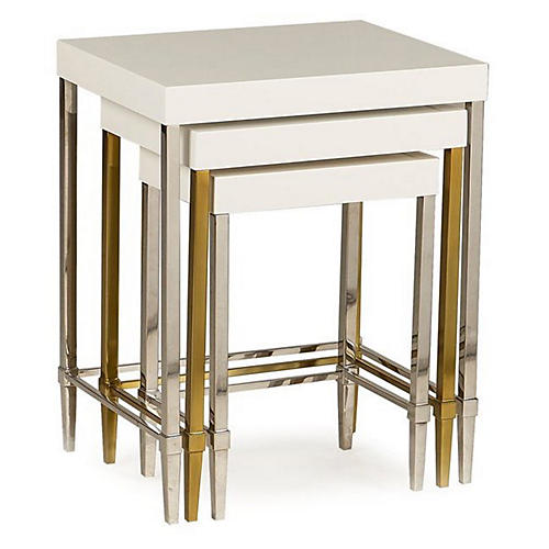 Asst. of 3 Formal Nesting Tables, Ivory/Multi