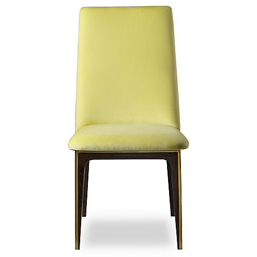 Silhouette Side Chair, Canary Yellow Velvet