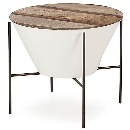 Danica Filter Wide Side Table, Natural/White