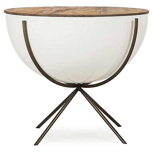 Danica Bowl Side Table, Natural/White