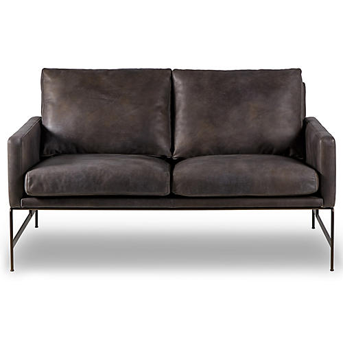 Vanessa Loveseat, Destroyed Black Leather