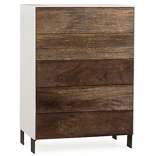 Cardosa 5-Drawer Dresser, Natural/White