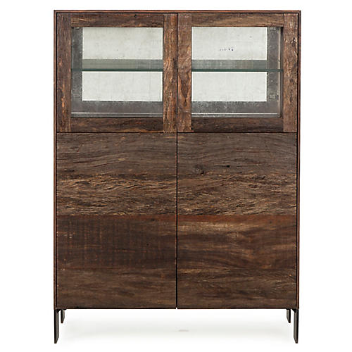Cardosa Bar Cabinet, Natural/White