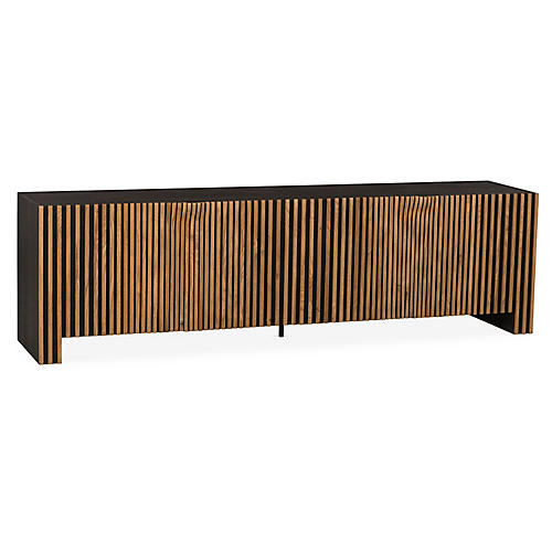 Angelica Media Console, Natural/Ebony