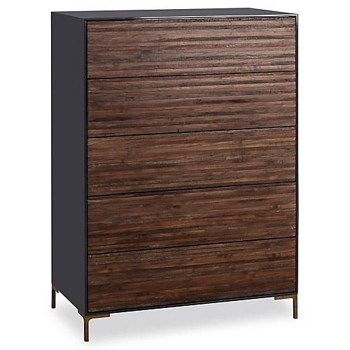 Zuma 5-Drawer Dresser, Gray/Natural