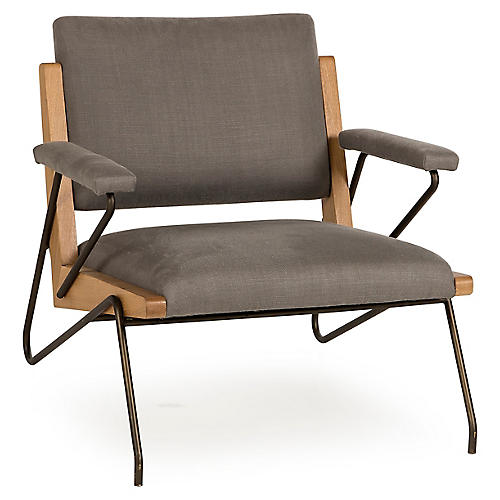 Marianne Accent Chair, Gray Linen