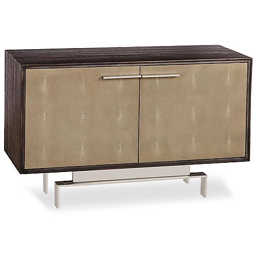 Latham Small Faux-Shagreen Sideboard, Beige