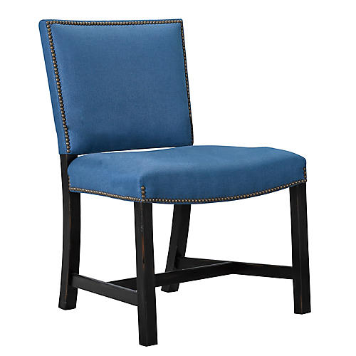 Sheffield Side Chair, Bright Blue Linen