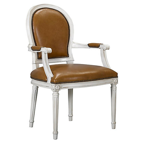 St. Pierre Armchair, Saddle Leather
