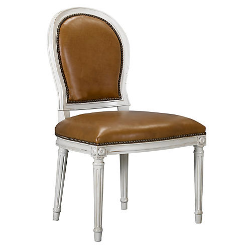 St. Pierre Side Chair, Saddle Leather
