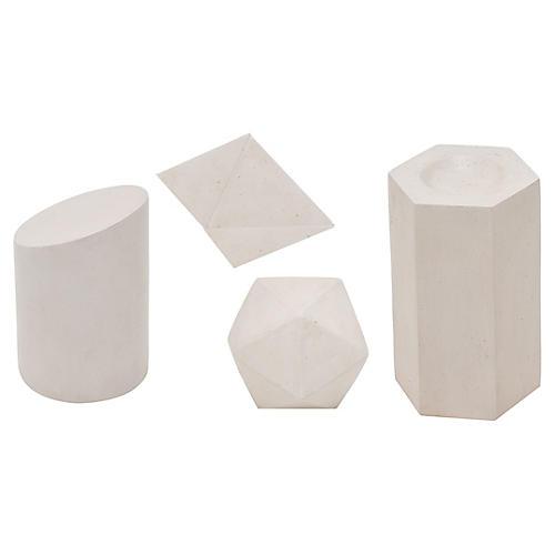 Asst. of 4 Geometric Objets, Ivory