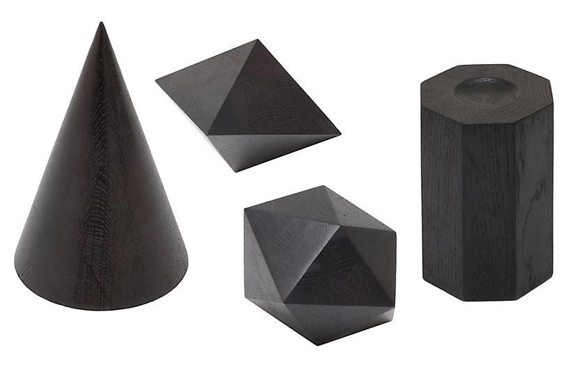 Asst. of 4 Geometric Objets, Ebony