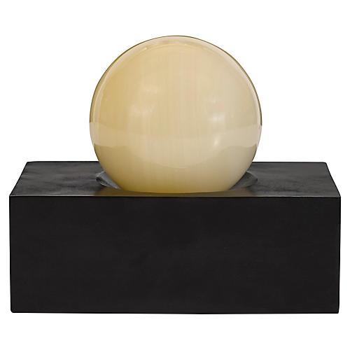 "8"" Sphere Wide Accent, Alabaster/Bronze"