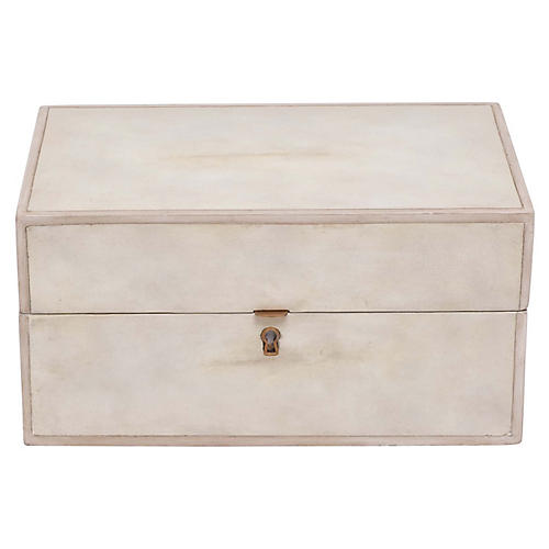 "12"" Parchment Decorative Box, Ivory"