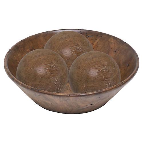 "17"" Three-Sphere Decorative Bowl, Limed Oak"