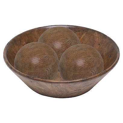 "17"" Three-Sphere Decorative Bowl, Limed Oak"