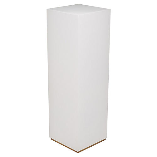 "45"" Sunset Parsons Pedestal, Dove White/Brass"