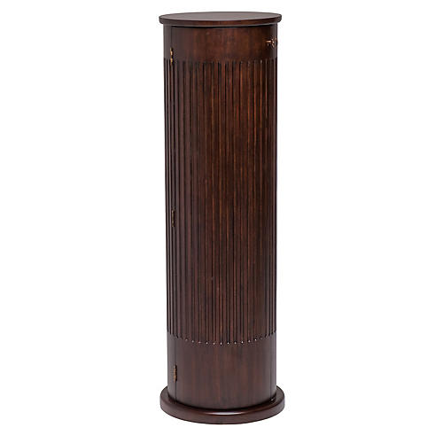 "48"" Highland Fluted Pedestal, Walnut/Brass"