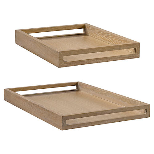 Asst. of 2 Fumed Oak Decorative Trays, Fumed Oak
