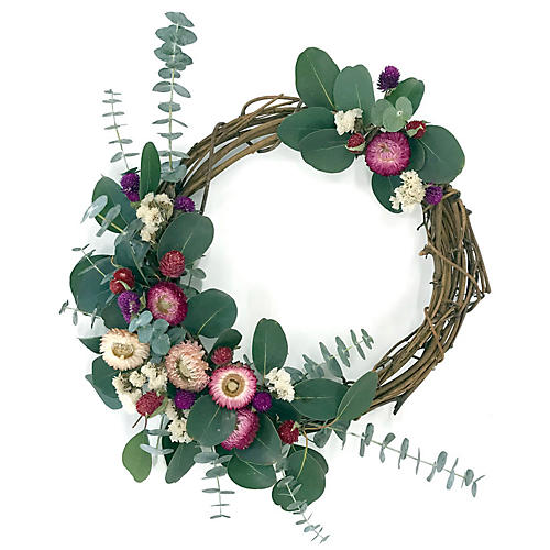 "17"" Spring Flowers Wreath, Preserved"