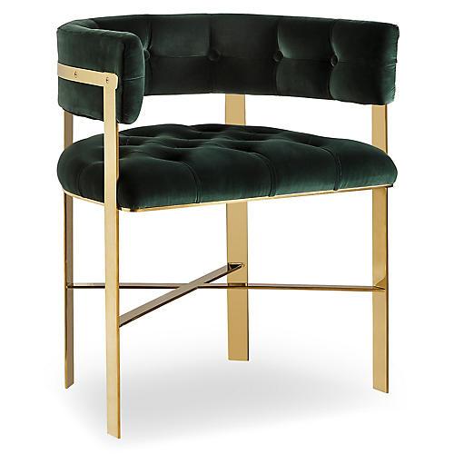 Art Tufted Armchair, Green