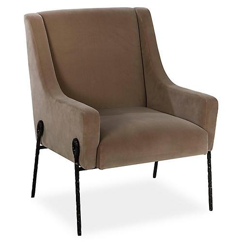 Bailey Accent Chair, Brown Velvet