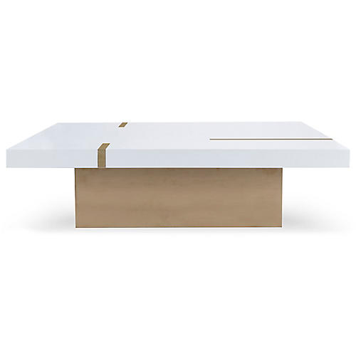 Band Square Coffee Table, Ivory/Gold