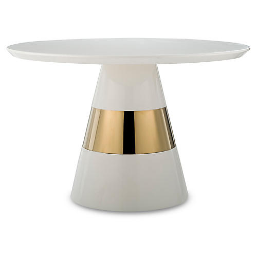 Band Center Table, Ivory/Gold