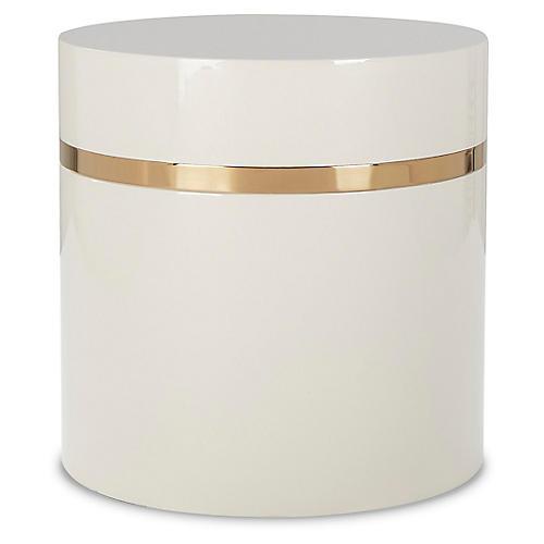 Ella Side Table, Ivory/Gold
