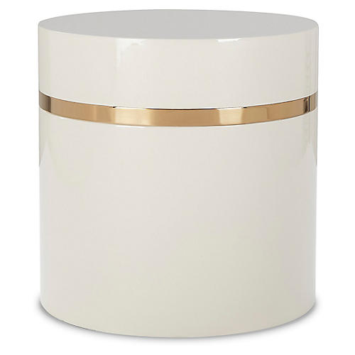 Ella Side Table, Ivory/Gold