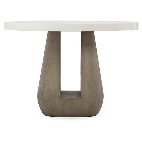 Gray Side Table, White/Taupe