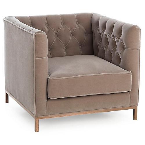 Vinci Tufted Club Chair, Brown