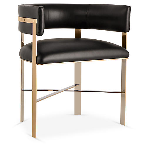 Art Armchair, Brass/Black Leather