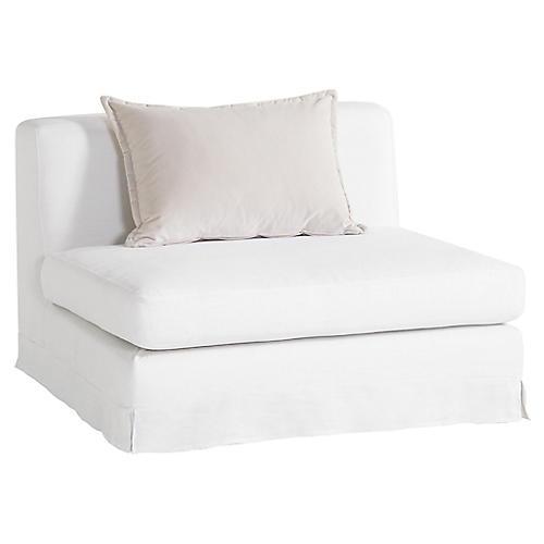 Jackson Armless Chair, Ivory Linen