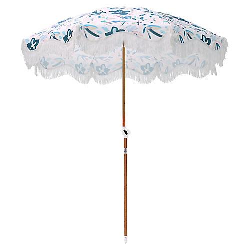 Floral Beach Umbrella, Sky/Pink