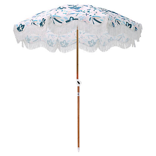 Floral Beach Umbrella, Sky/Pink