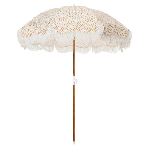 Eyelet Beach Umbrella, Ivory/Gold