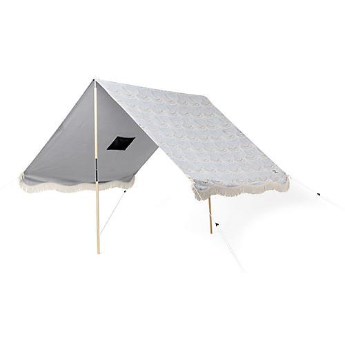 Scallop Print Beach Tent, Slate Blue/Gold