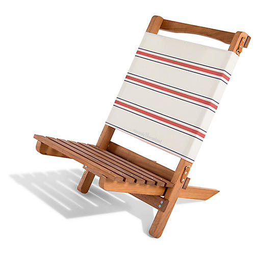French Stripe 2-pc Folding Chair, Red/White