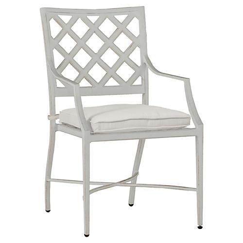 Lattice Armchair, French Linen